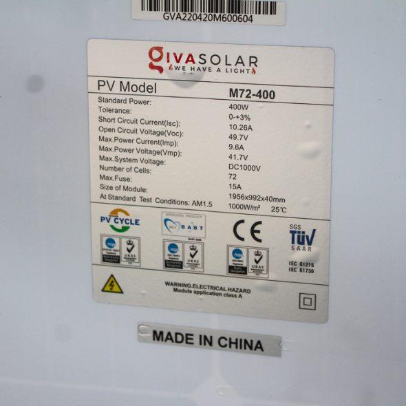 Tấm pin năng lượng mặt trời đơn tinh thể công suất lớn 400W 10